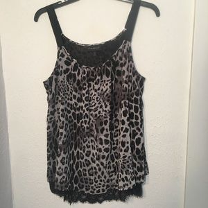 Lane Bryant Animal Print Lined Semi-Sheer Cami